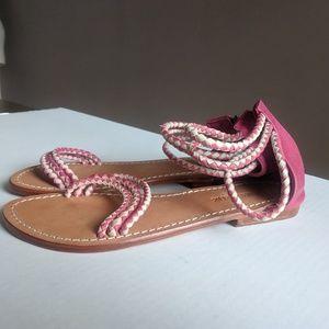 Antik Batik 39/US 9 Dafne Pink Braided Sandals